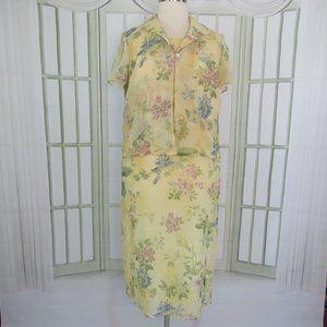 Jessica Howard Chiffon Jacket Dress Midi Floral